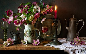 Picture flowers, style, candle, bouquet, glasses, still life, candle holder, napkin, dish, coffee pot, Hellebore