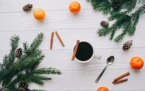 Picture decoration, New Year, Christmas, Christmas, wood, New Year, coffee cup, tangerines, decoration, Merry, fir tree, …