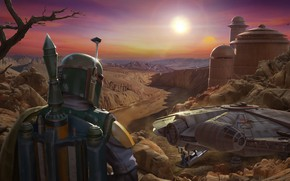 Picture Star Wars, Boba Fett, Characters, Science Fiction, Millenium Falcon, ILM Art Dept, by Darren Pattenden, …