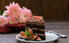 Picture food, cake, dessert, chocolate, a piece of cake, figs