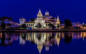 Picture reflection, Spain, home, trees, Andalusia, lights, temple, The Dew, water, night, promenade, river