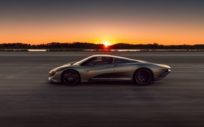 Picture sunset, McLaren, speed, the evening, supercar, side view, hypercar, 2019, Speedtail