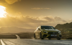 Picture road, sunset, Mercedes-Benz, AMG, hatchback, UK-spec, 2020, 4MATIC+, A45 S, Aerodynamic Package