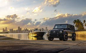 Picture sunset, Miami, SUV, sunset, Cigarette Racing, luxury yacht, Mercedes-AMG, Mercedes - Benz, Mercedes-AMG G 63, …