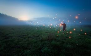 Picture field, fog, people, mystic, field, fog, man, mysticism