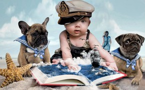 Picture sand, clouds, childhood, child, starfish, owner, doll, two dogs, капитнская фуражка