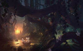 Picture forest, river, boat, tuomas korpi, moomin