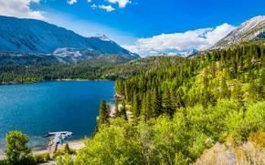 Picture forest, boats, pier, California, Convict Lake, mountain lake, Rock Creek