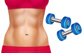 Picture Girl, Sport, Cubes, White background, Dumbbells, Art, Athlete, Press, Fitness, Belly, Closeup