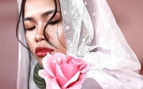 Picture girl, rose, portrait