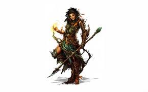 Picture girl, magic, fantasy, white background, staff, spear