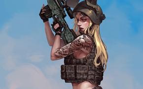 Picture girl, weapons, helmet, vest, Playerunknown's Battlegrounds