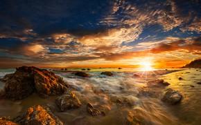 Picture sea, beach, the sky, the sun, clouds, rays, stones, dawn, coast, horizon, surf, USA, Malibu, …