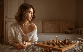 Picture girl, pose, mood, chess, shoulder, Albert Forest, Виктория Макаренко