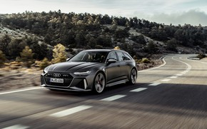 Picture trees, Audi, hills, speed, universal, RS 6, 2020, 2019, dark gray, V8 Twin-Turbo, RS6 Avant