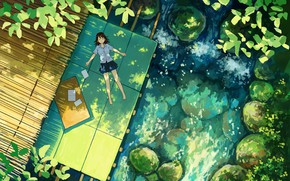 Picture summer, plants, girl, lies, schoolgirl, the view from the top, Sunny day, the pond, stones …