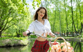 Picture look, trees, flowers, bike, sexy, smile, pond, Park, basket, model, skirt, portrait, makeup, figure, hairstyle, …