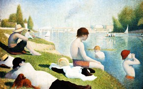 Picture river, picture, genre, Georges Seurat, Georges Seurat, Swimming in Asnieres