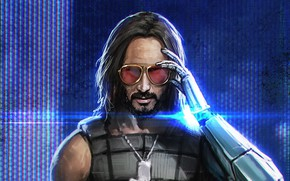 Picture glasses, cyborg, Keanu Reeves, Cyberpunk 2077, Johnny Silverhand