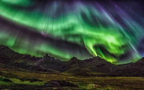 Picture the sky, mountains, Northern lights, Night, colorful, nature, Night, Northern Lights