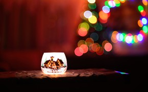 Picture winter, night, the dark background, holiday, lights, Christmas, lamp, New year, fabric, garland, herringbone, candle …