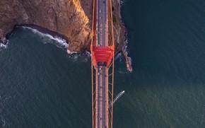 Picture sea, bridge, rock, CA, San Francisco, Golden Gate Bridge, the view from the top, California, …