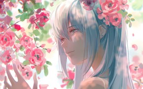 Picture face, hand, spring, vocaloid, Hatsune Miku, shoulders, Vocaloid, blue hair, the cherry blossoms