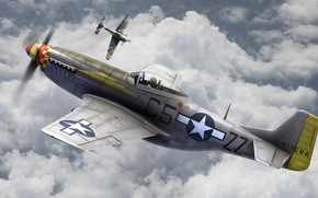 Picture UNITED STATES AIR FORCE, dogfight, North American P-51 Mustang, American single-seat fighter, Focke-Wulf Fw 190 …