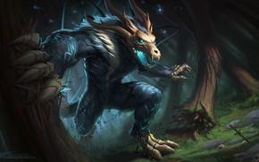 Picture forest, fiction, wolf, monster, werewolf, fenrir, bone spirit