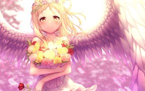 Picture rose, angel, girl