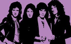 Wallpaper Wallpaper, figure, Queen, Freddie Mercury, Brian May, Roger Taylor, John Deacon, engraving