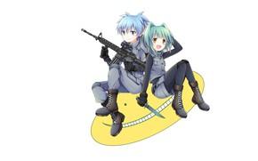 Picture smile, shoes, machine, white background, dagger, blue hair, art, military uniform, sitting, The class assassins, …