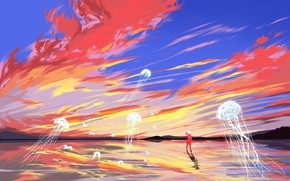 Picture the sky, water, girl, birds, surrealism, jellyfish, by Fangpeii
