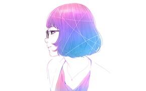 Picture haircut, glasses, white background, profile, bangs, pink hair, portrait of a girl, Ilya Kuvshinov, the …