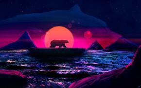 Picture Sunset, The sun, The ocean, Bear, Style, Iceberg, Bear, Fantasy, Art, Sun, Style, Sunset, Ocean, …