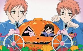 Picture pumpkin, guys, red, Host club Ouran high school, Ouran Koukou Host Club
