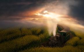 Picture the sky, the sun, clouds, flowers, mountains, fog, dawn, smoke, train, the engine, dal, yellow, …