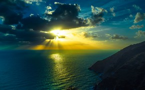 Picture Sunset, The sky, Nature, Clouds, Reflection, Sea, Mountains, The Sun's Rays