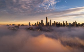 Picture clouds, the city, fog, building, morning, Chicago, USA