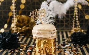 Picture golden, black, cake, decor, decor, Birthday, Birthday