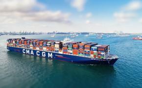 Picture Sea, Board, Court, The ship, A container ship, RAID, CMA CGM, A cargo ship, Container …