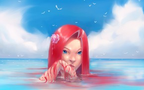 Picture flower, the sky, water, girl, birds, Hibelton