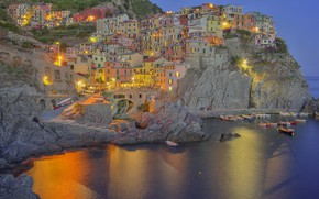 Picture sea, lights, rocks, home, Italy, Manarola, Liguria
