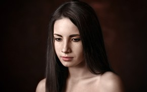 Picture close-up, background, model, portrait, makeup, Alina, brunette, hairstyle, beauty, bokeh, bare shoulders, Alina, Albert Forest, …