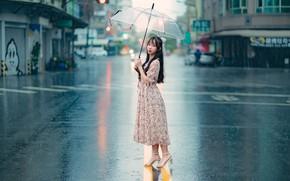 Picture the rain, girl, the city, umbrella, sweetheart, street, hair