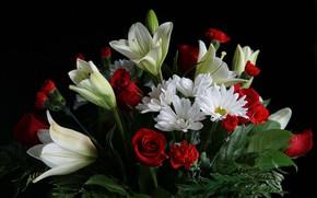 Picture Lily, roses, chamomile, bouquet, petals