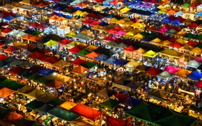 Picture colors, night, stores, market, trade