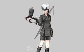 Picture robot, boy, cyborg, eye patch, Nier Automata, YoRHa No 9 Type S