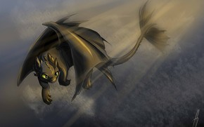 Picture fantasy, art, dragon, Toothless, How to train your dragon, the night fury