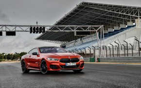 Picture coupe, BMW, Coupe, 2018, 8-Series, dark orange, M850i xDrive, Eight, G15, starting video